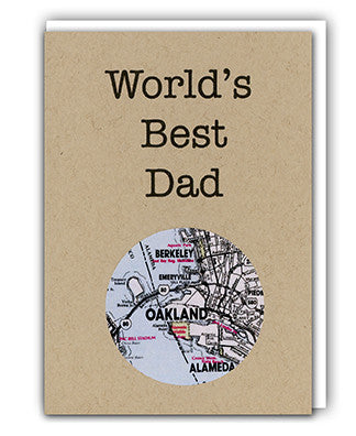 World's Best Dad map card by Granny Panty Designs
