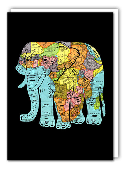 African Elephant Map Art card by Granny Panty Designs