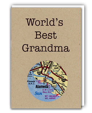 World's Best Grandma map card by Granny Panty Designs