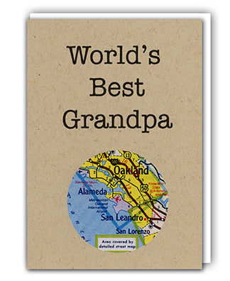 World's Best Grandpa map card by Granny Panty Designs
