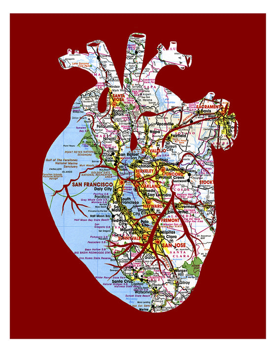 San Francisco Bay Area Map Anatomical Heart Print