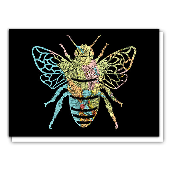 Honey Bee Map Art Greeting Card Bay Area Map