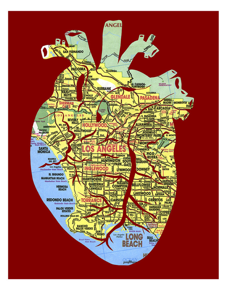 Anatomical heart Los Angeles map poster by Granny Panty Designs