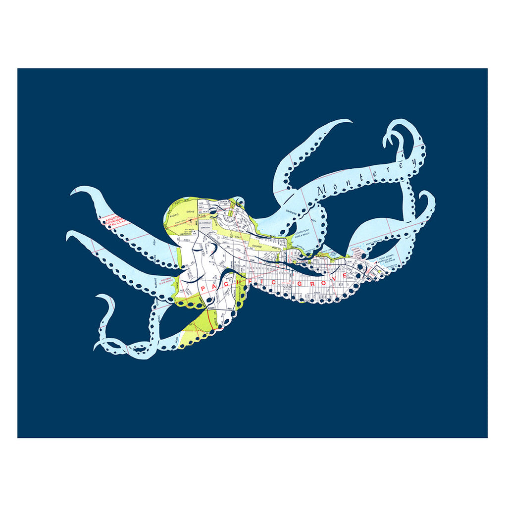 Monterey Octopus Map Art 11x14 Poster