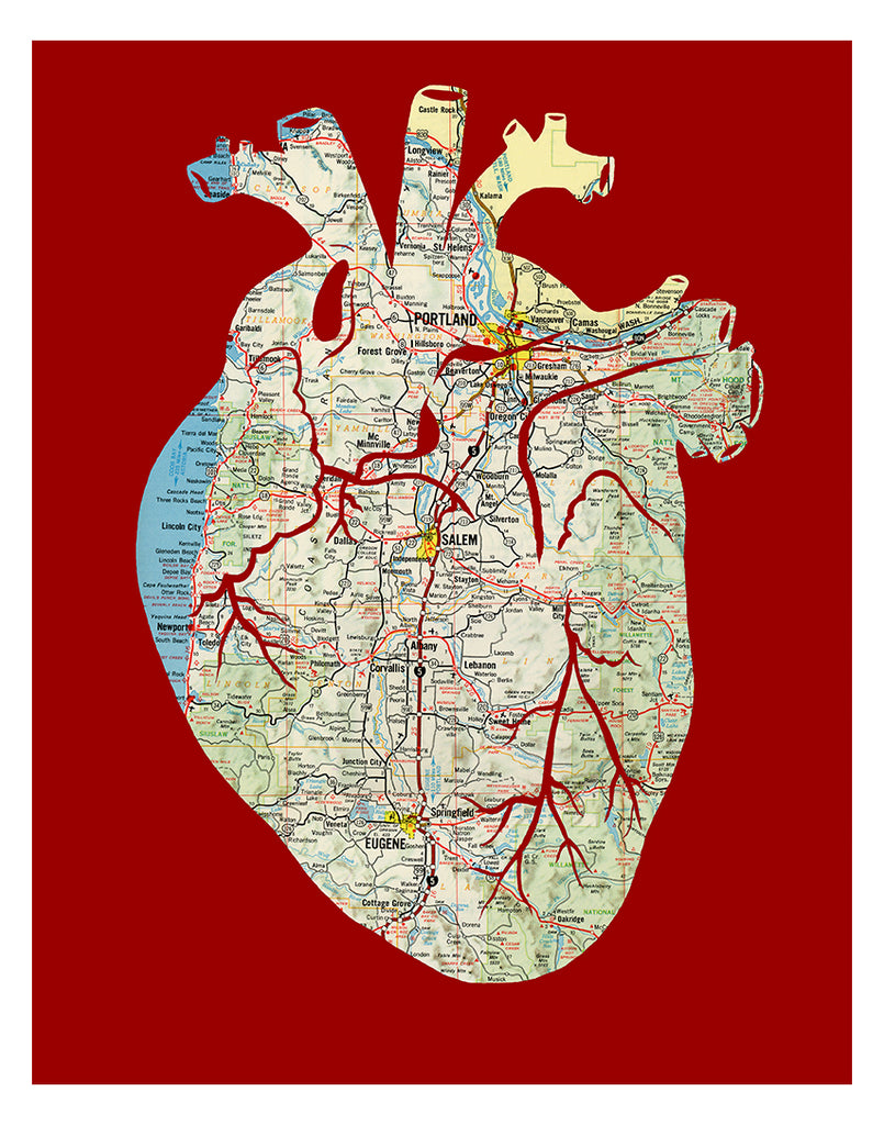 Anatomical heart Oregon map artwork red