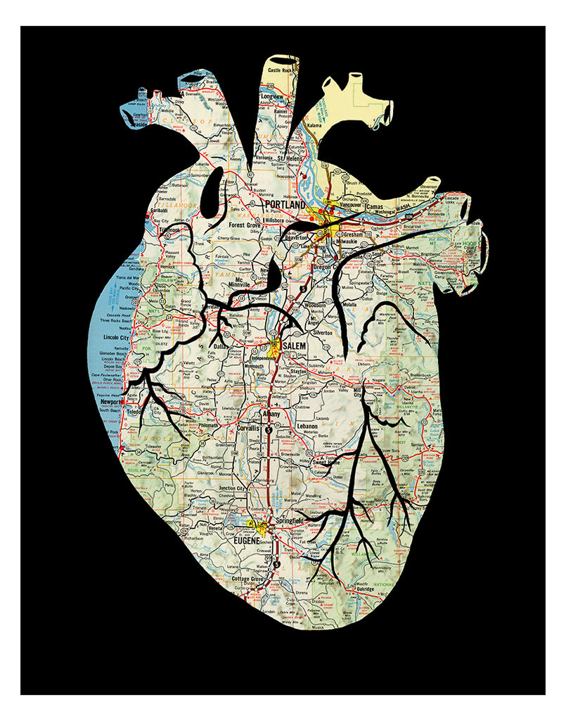 Anatomical heart Oregon map artwork black 11x14