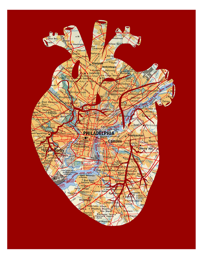 Philadelphia map anatomical heart artwork print