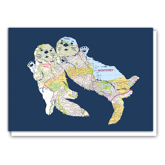 Monterey Map Sea Otter Art card by Granny Panty Designs