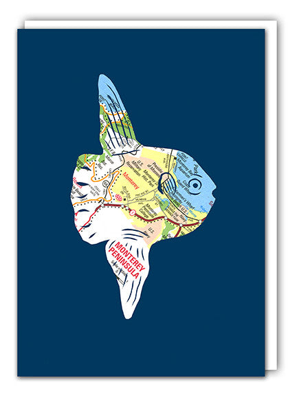 Ocean Sunfish Mola Mola greeting card by Granny Panty Designs