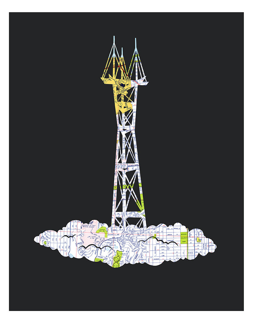 San Francisco Sutro Tower Map Art by Granny Panty Designs