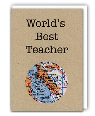 World's Best Teacher map card by Granny Panty Designs