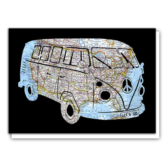 VW Bus United States Road Map Art Greeting Card by Granny Panty Designs