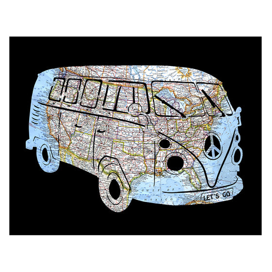 VW Bus United States Road Map Art