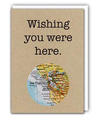 Wishing you were here map card by Granny Panty Designs