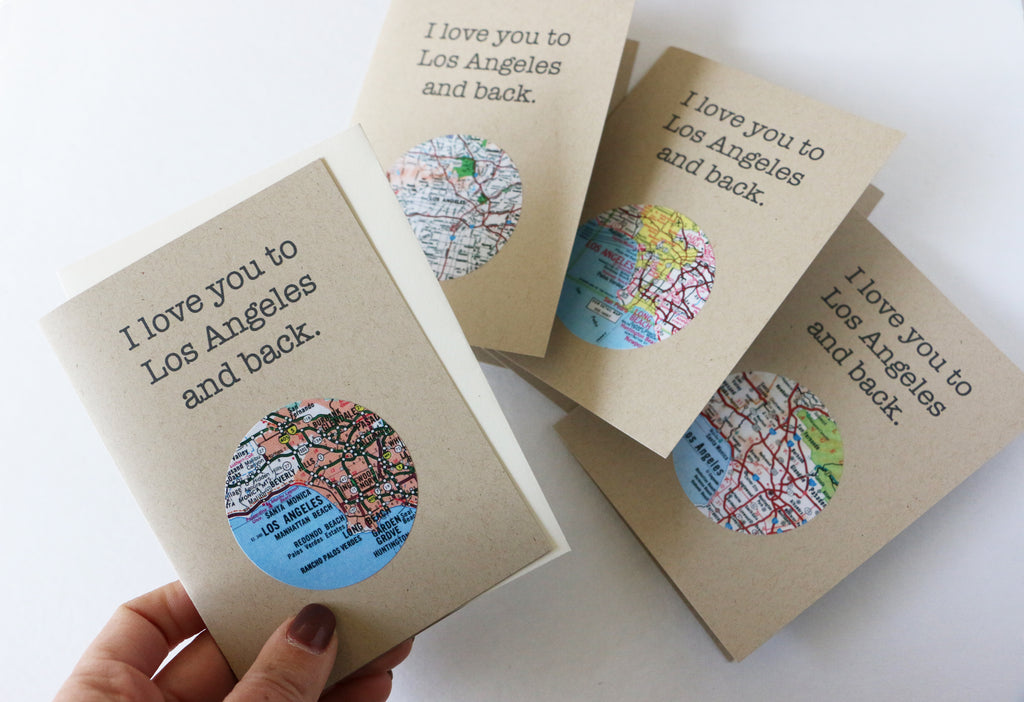 I Love You Los Angeles Mini Map Card