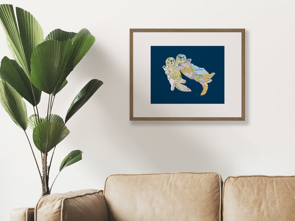 Monterey Map Sea Otter Art Print