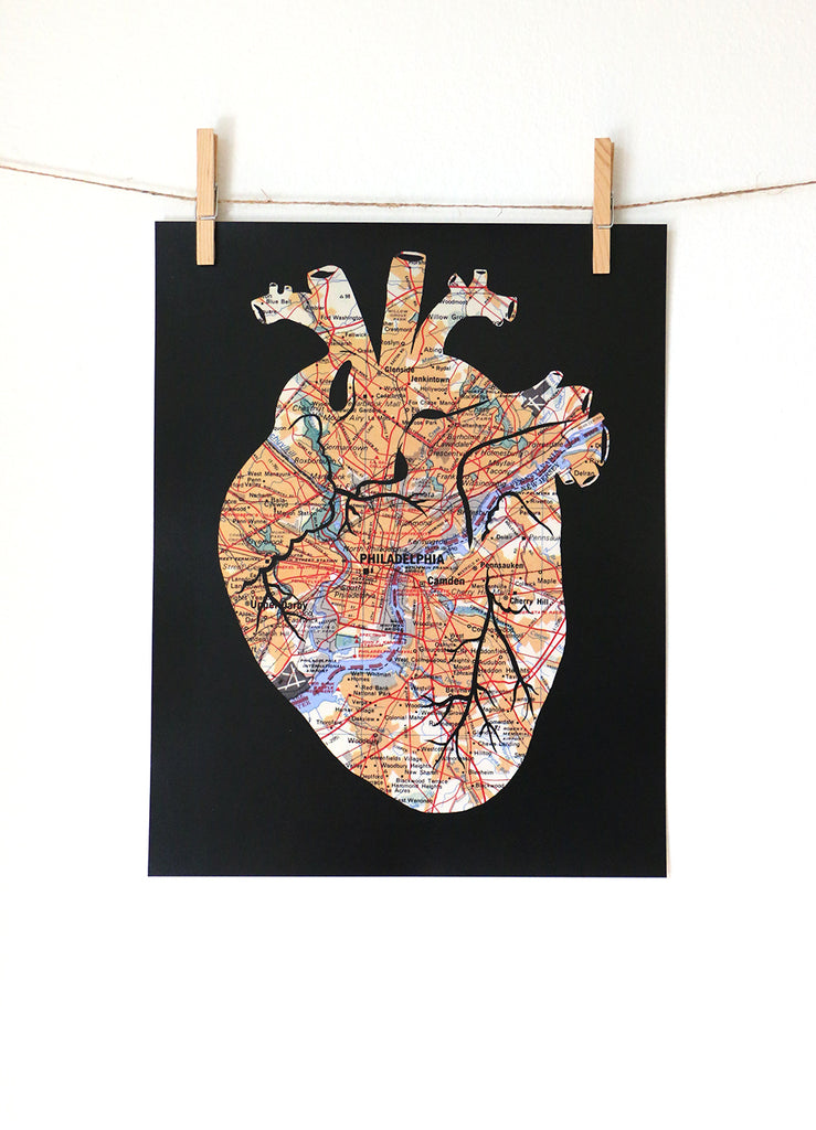 Philadelphia Pennslyvania map anatomical heart artwork