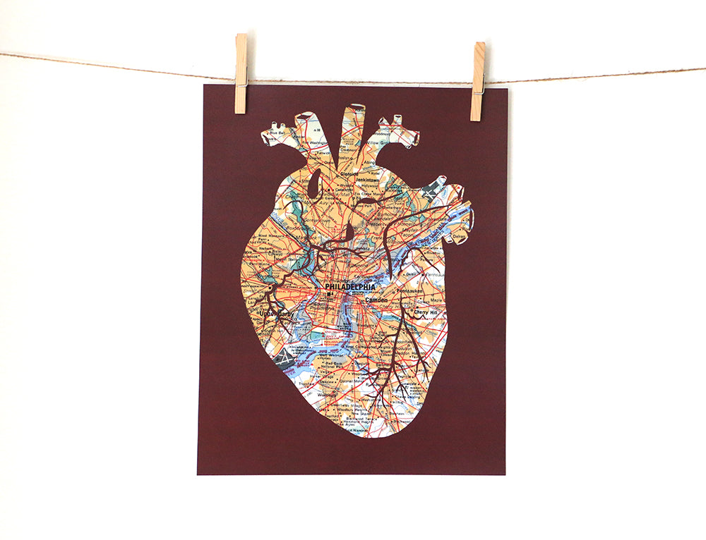 Philadelphia Eagels Anatomical Heart Art Print