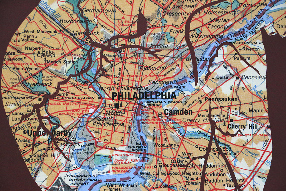 Philadelphia map wall art papercut