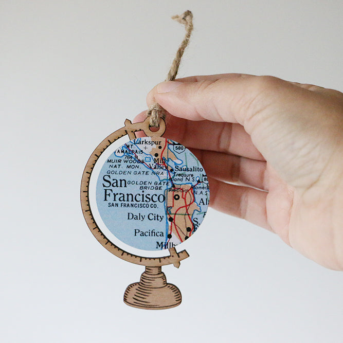 Wood Globe Ornament With Custom Map