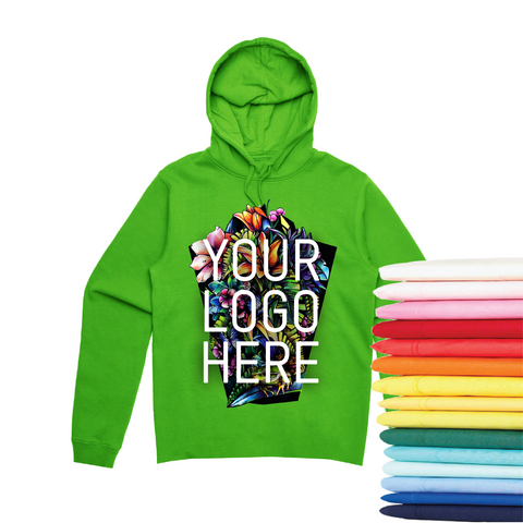 24 Pocketless Full-Color Screen Print Hoodies
