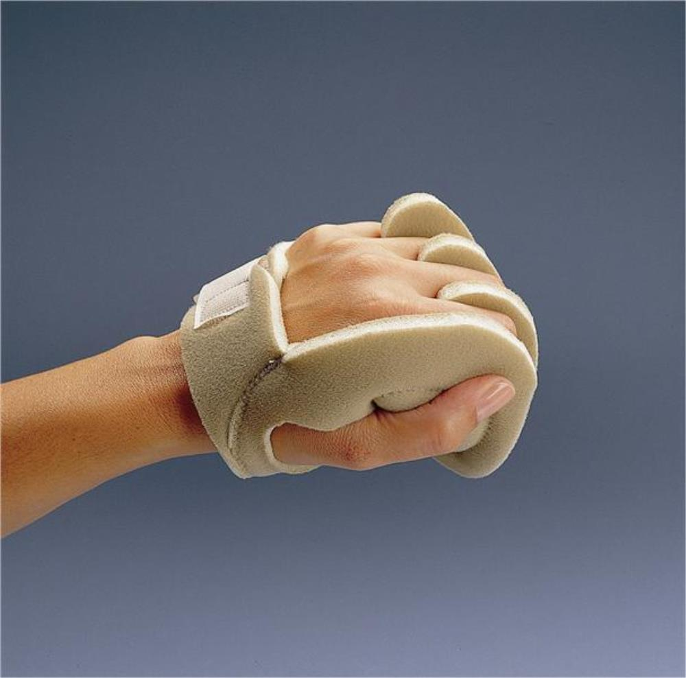 Rolyan Palm Shield / moderate to severe hand tightness by separating and positioning the fingers and thumb.