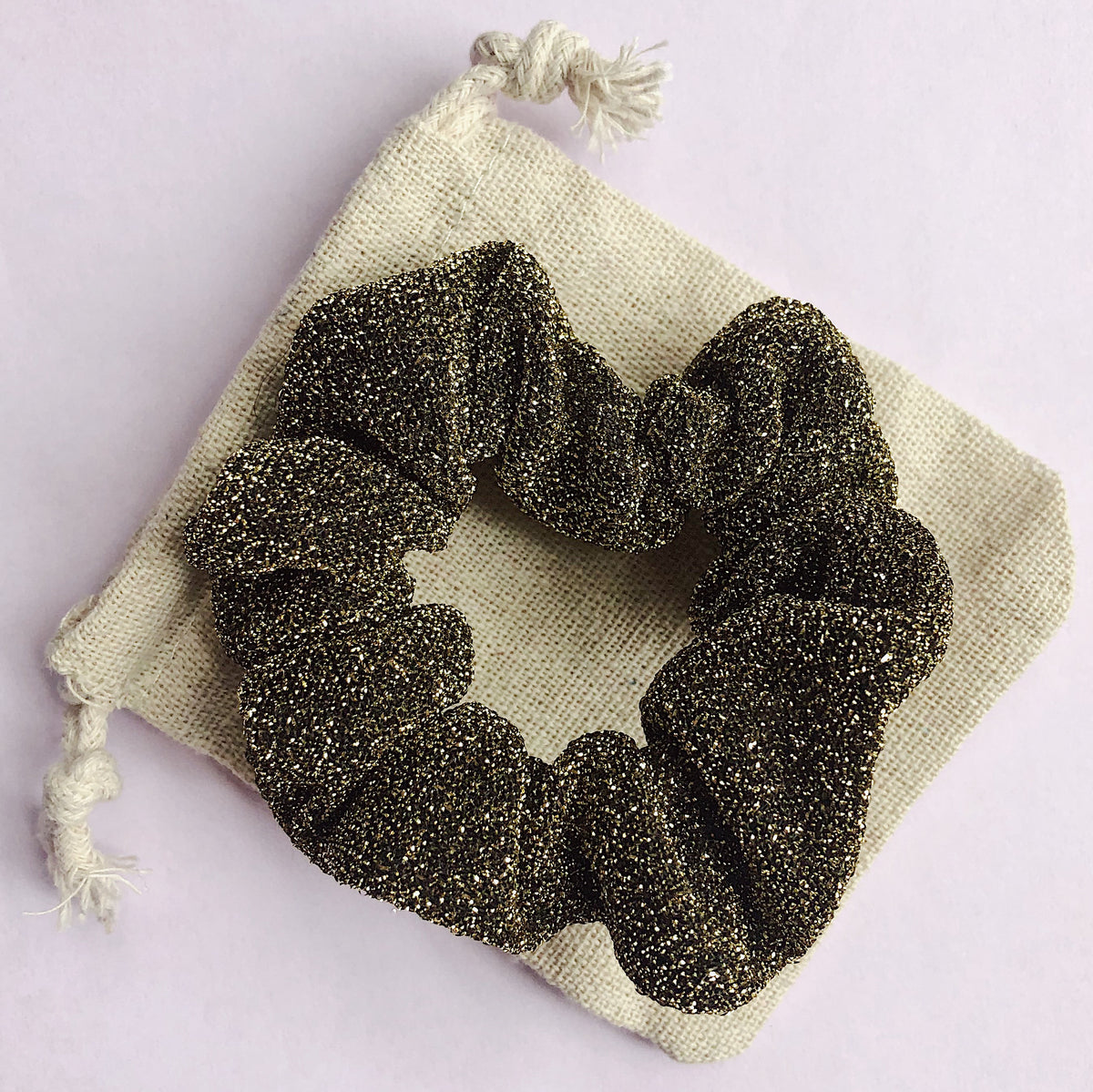 'GOLD/BLACK' - Smaller Sparkle Scrunchie