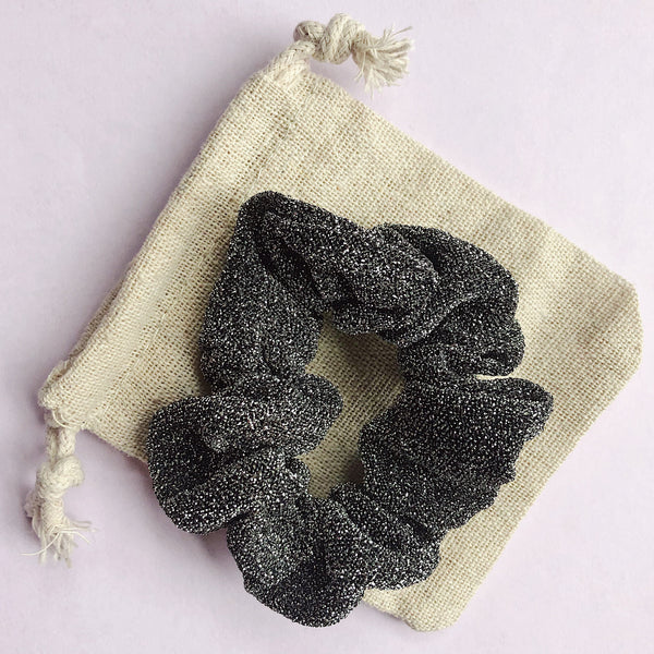 'SILVER/BLACK' - Smaller Sparkle Scrunchie