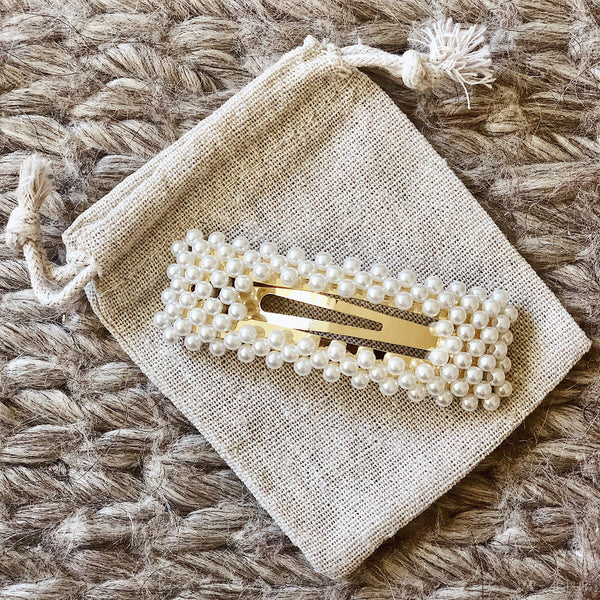 Pearla rectangle vintage clip in 'Gold'
