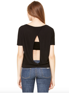 Open-back short sleeve shirt