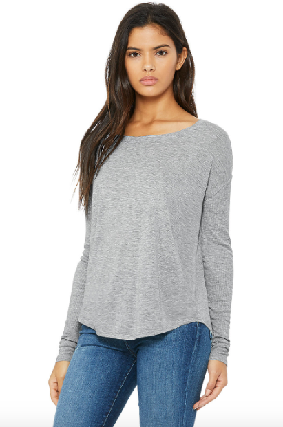 Ribbed-sleeve flowy tee