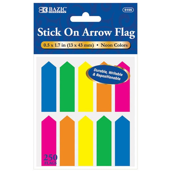Bazic 250 Stick on Arrow Flags, 0.5 x 1.7 in.