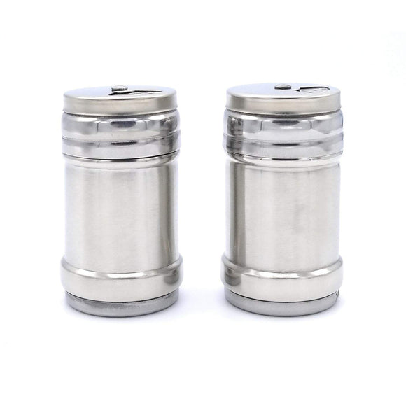 Stainless Steel Salt & Pepper Spice Sugar Shakers set w/ Rotating Adjustable Pour Holes