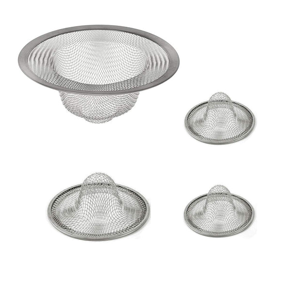 Set of 4 pcs Stainless Steel Fine Mesh Kitchen Sink Strainer for Tub Shower Drain Bathroom Utility Laundry Room