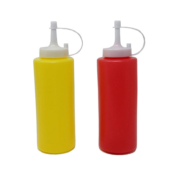 Ketchup & Mustard Dispenser Condiment Set with Cap Refillable Yellow Red Bottles 13 oz