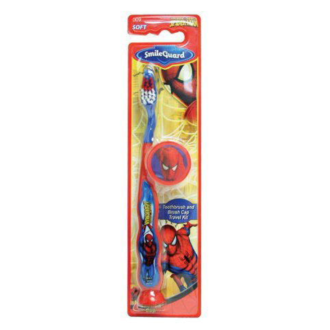 Marvel Heroes Barrel Spider-Man Toothbrush Suction Bottom with 3D Sticker Cap