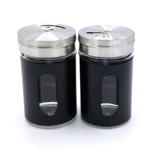 Stainless Steel Spice Salt & Pepper Shakers set with Rotating Adjustable Pour Holes (2 Pieces)