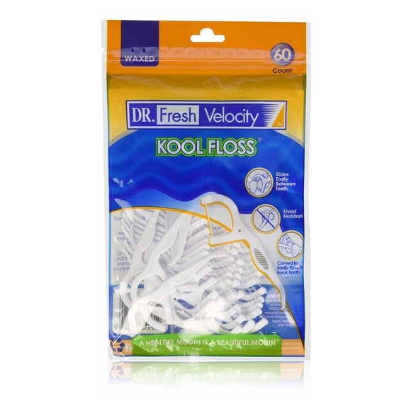 Dr Fresh Velocity Kool Floss Waxed toothpicks 60 Count
