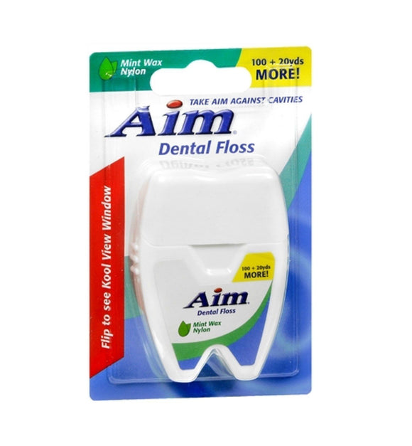 Aim Dental Floss Mint Wax Nylon 120 Yards (100+20)