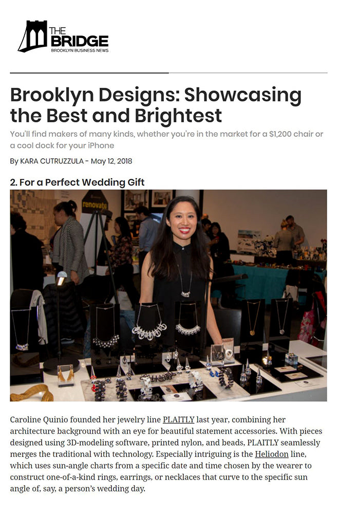 The Bridge BK Features PLAITLY at Brooklyn Designs