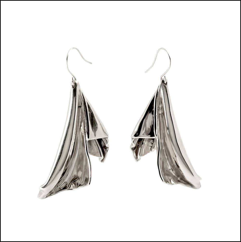 En l'Air Statement Earrings in Rhodium