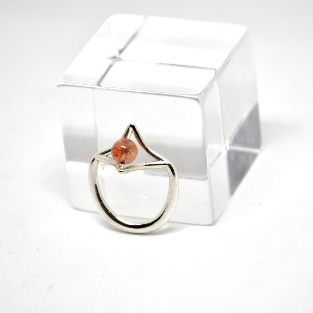 Petal Sterling Silver Ring with Sunstone