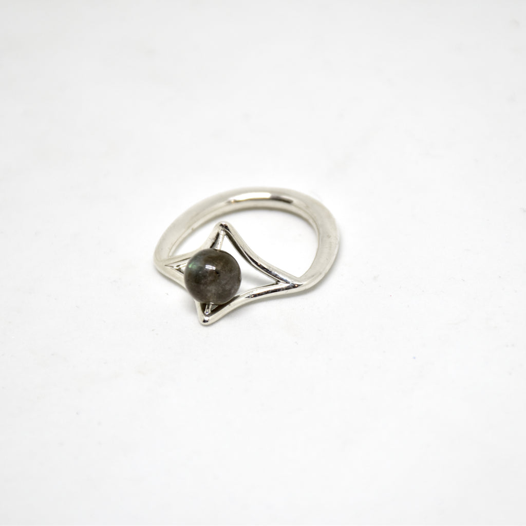 Petal Sterling Silver Ring with Labradorite