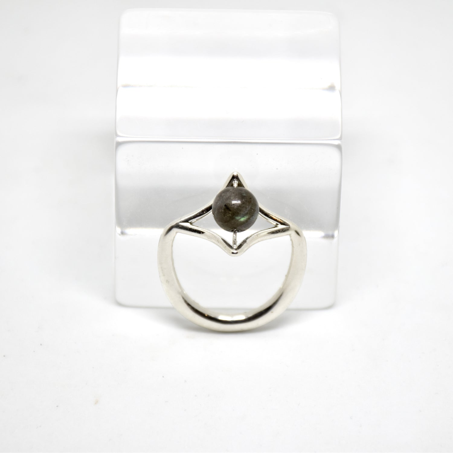 Petal Sterling Silver Ring with Labradorite Stone