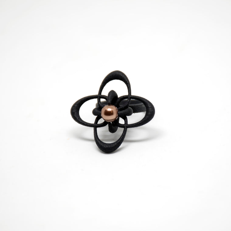 Petal Tilt Statement Ring in Black