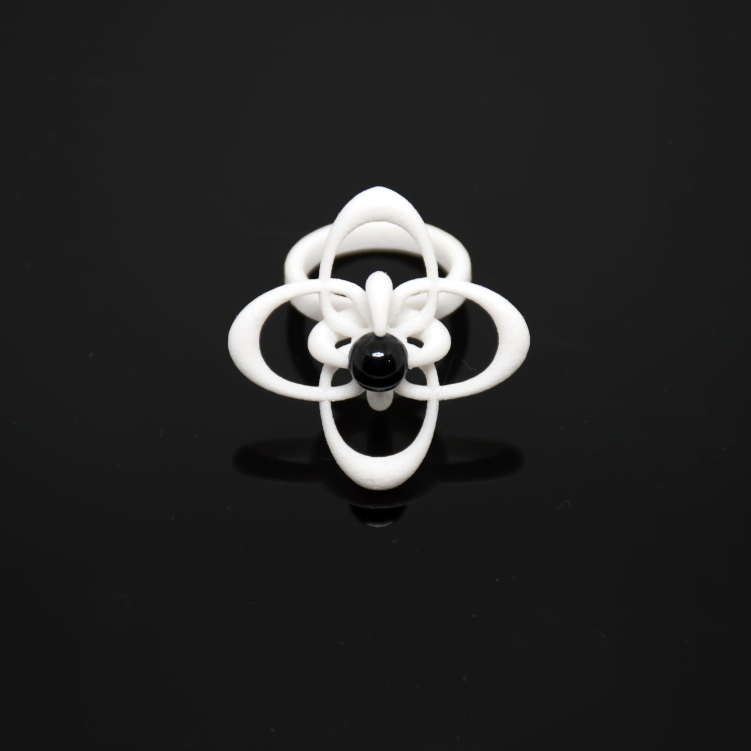 Petal Tilt Statement Ring in White