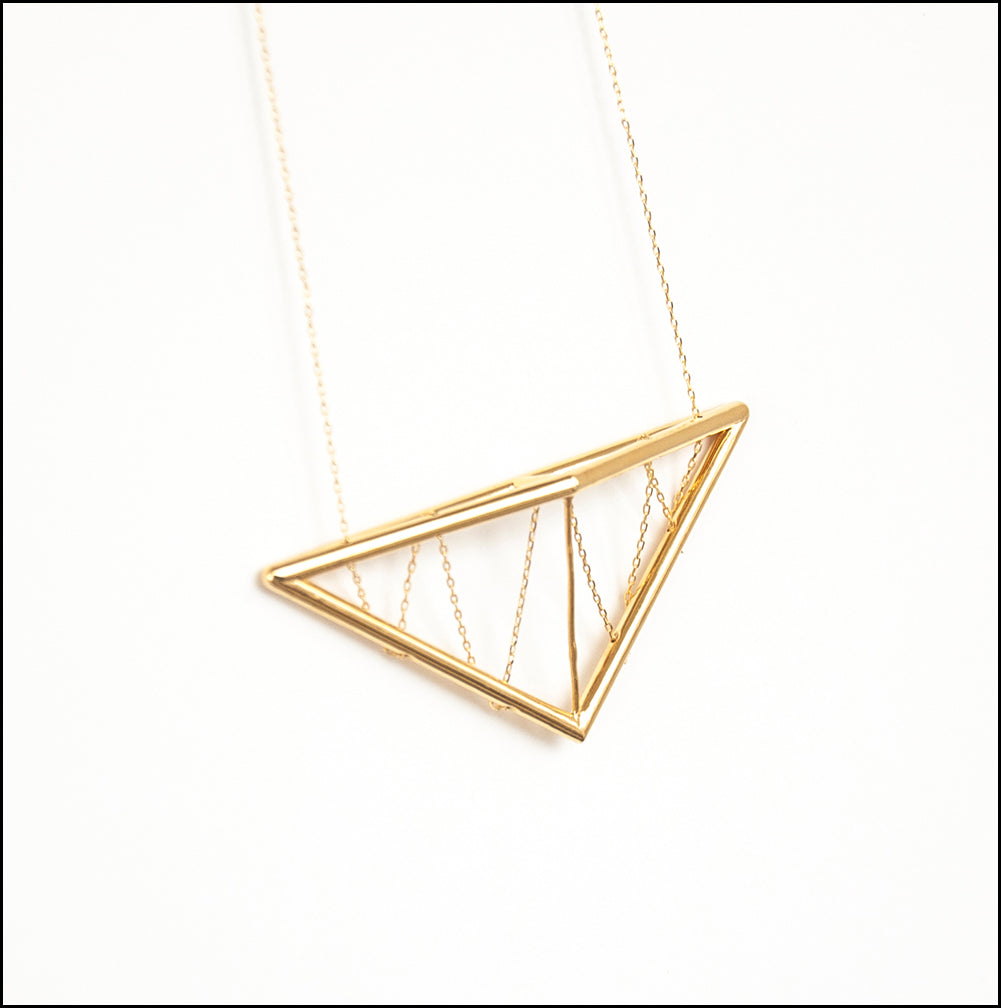 Pitched Truss Pendant in Gold