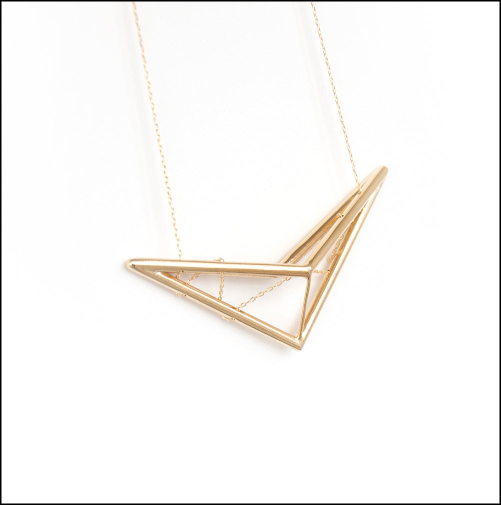 Scissor Truss Pendant in Gold