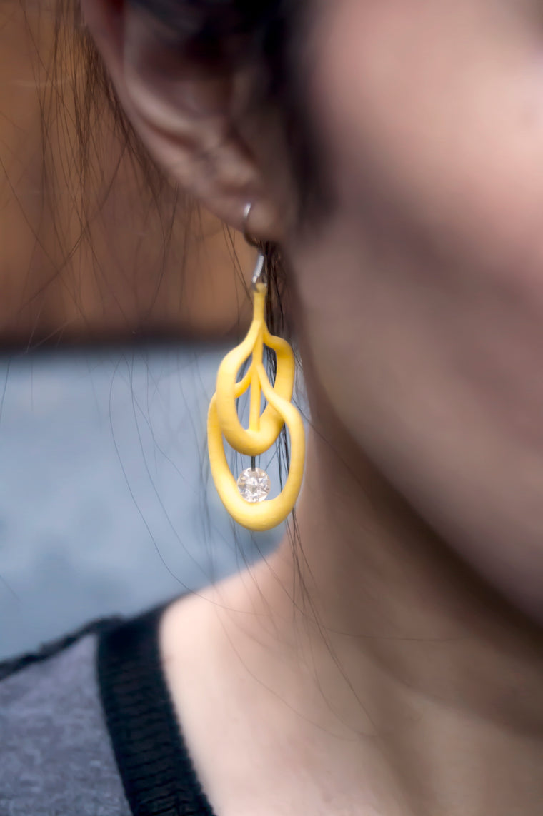 Petal Earrings in Yellow