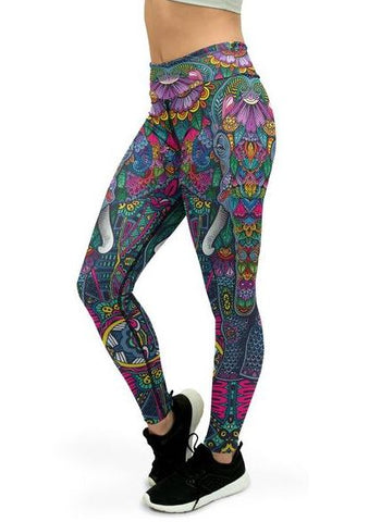 Elephant printed yoga pants